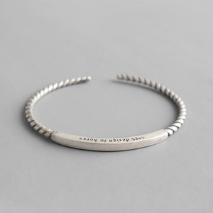 Open Bracciale Pure Silver 925 Twisted Rope Square Tube Браслеты браслеты для женщин Bijoux Argent 925 Массива Pour Femme