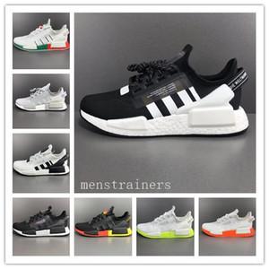 2020 zapatos más nuevos NMD R1 V2 Japón iridiscente RUNNIG Triple Negro Blanco Gris plata metálico Hombres Mujeres Des Chaussures Trainer las zapatillas de deporte