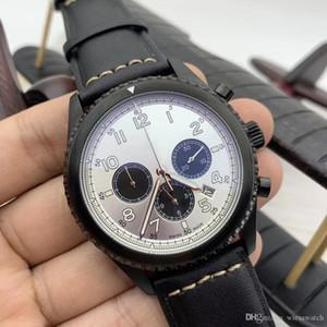 Numerais arábicos Marcadores Pilot 46MM Mens relógios Quartz Chronograph Data Luminous Assista Couro Strap Legible Branco Dial Relógios de pulso