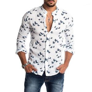 Tees Uzun Kollu İnce Erkek Tek Breasted Erkek Tasarımcı Hayvan Baskı Gömlek Yaka Casual Standı Tops