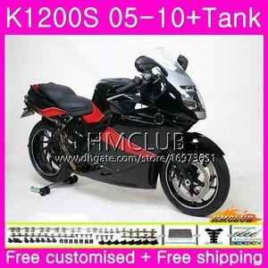 Body+Tank For BMW K1200 S K 1200 S K1200S 05 06 07 08 09 10 Kit 30HM.0 K-1200S K 1200S 2005 2006 2007 2008 2009 2010 Fairing Glossy black