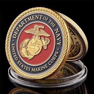 Sfida della moneta USA Army Corps Marine Department Of Gold Navy placcato della moneta con la capsula di visualizzazione