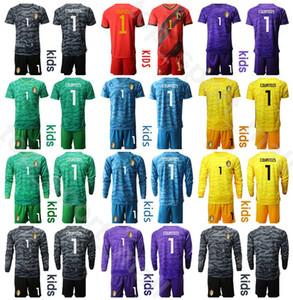 Bélgica Crianças manga comprida Goleiro Futebol Juventude Thibaut Courtois Jersey 1 Set 12 MIGNOLET 2 Alderweireld 3 Vermaelen Futebol shirt Kits