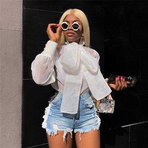 Gevşek Moda Bayan Tops sayesinde İlkbahar ve Yaz Kadın Gömlek Puff Kol Gazlı bez Bow Kadın Bluzlar bakın
