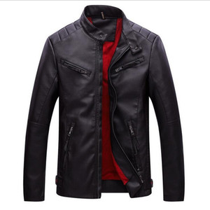VXO 2019 Leather Jacket Men Plus Velvet Thick Warm PU Leather Jackets Men Washing Pu Motorcycle Jackets For Male Coat
