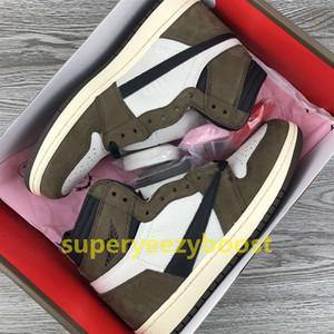 Alta calidad Travis Scotts x 1 High OG zapatos de baloncesto para hombre 2019 nuevo Cactus 1s high low mens diseñador de zapatos zapatillas US 7-12