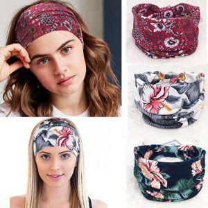 Étnico Floral Bohemia Headband Yoga cabelo banda mulheres Retro Acessório face Headwrap Tecido Cabeça Moda Banda 64 Designs