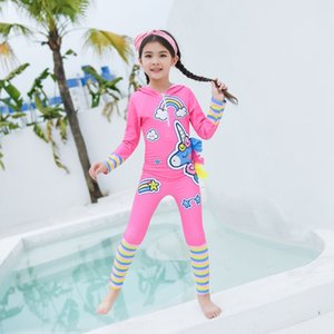 RMZJJ Children's swimsuit girl boy's one-piece anti-blocking long-sleeved hooded baby's medium and large children's holiday beach Swimsuit T