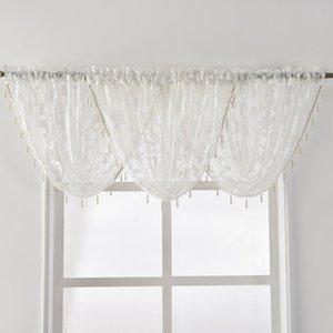 NEW projeto frisada Cachoeira Valance Europeia Luxo cortina Valance Sheer Tecidos Janela Decoração Tratamento Jacquard Transparente
