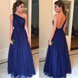 Элегантное платье на одно плечо из тюля с длинными рукавами для подружек невесты 2019 темно-синий свадебное платье с рюшами на вечеринке BM0621