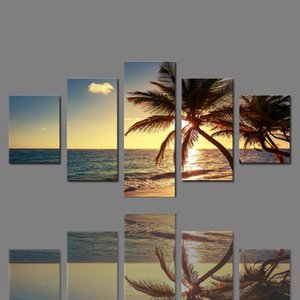BANMU 5 Pièces Frameless Toile Sea Impressions photo Sunset Palm Trees Mur Décorations Wall Art Image toile Peintures