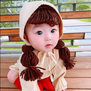ins baby Hair band summer baby girl princess hand-woven wig braid hat hair band hat 2-piece fashion