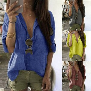 Autumn Womens Designer Tshirts Loose Solid Color Lapel Neck Single Breasted Long Sleeve Tops Casual Female Clothing
