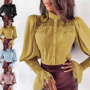 HOT Women's Clothing Long Sleeve Lace Patchwork Button Tops Shirt Ladies Korean Fashion Office Ladies Tops