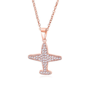 New Rose Gold Fashion Simple Airplane Pendant Beautifully Inlaid Crystal Cross Clavicle Chain Necklace 3-KX450