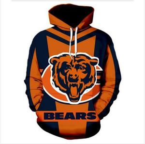 il progettista del mens pullover da uomo Felpa amanti 3D Chicago Bears Felpe con cappuccio cappotti Pullover Tees Abbigliamento WP021