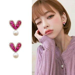 S925 argent aiguille style japonais perle coeur rouge Boucle d'oreille coeur doux boucle d'oreille accessoires zircons simples correspondants