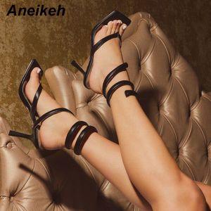 Aneikeh Aneikeh mode d'été Serpentine Rome Sandales Femmes Chaussures Peep Toe bande étroite Stilettos Escarpin Sandales Parti Chaussures