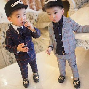 Baby-Kleinkind-Jungen-Herr-Klagen stattliche formale Frühling und Herbst-Jungen-Kleidung-Mantel-Hose-Kinder-Anzüge 1 2 3 4 5 Jahre Kinderkostüm