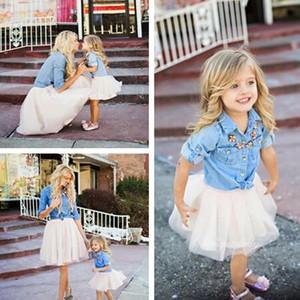 Mãe Filha Vestidos Conjuntos Família Correspondência Parent-Child Bebê Meninas Princesa Denim Camisa Tutu Saia Terno Cowboy Coat + Gaze Saia E21905