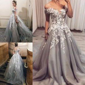 Silver Grey White Wedding Dresses 2020 Modest Off Shoulder 3D Floral Applique Puffy Skirt Dubai Arabic Princess Church Wedding Gown