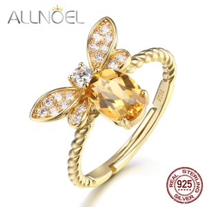 ALLNOEL Beaux bijoux Anneaux Argent 925 pierre naturelle Citrine Abeille Bague de fiançailles Ensemble de mariage d'argent personnalisé Jewellry V191220