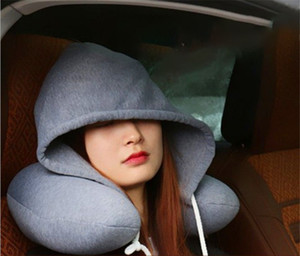 New Body Neck Pillow Solid Nap Cotton Particle Pillows Soft Hooded U-shaped pillow Airplane Car Travel Pillow Home Textiles HH9-2579