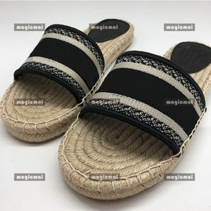 Designer Women Summer Slippers Epadrilles Breathable Casual Shoes Emboidery Canvas Genuine Leather Cross Sandal with Box Flip Flop