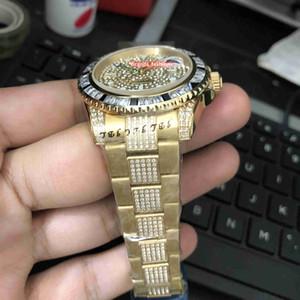 Montre automatique pour homme avec bracelet en acier inoxydable et bracelet en diamant pour hommes