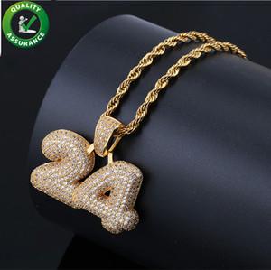 Hip Hop Numero 24 personalizzato Bubble Lettera Ciondolo Mens Catenina d'oro collana di diamanti ghiacciato fuori i pendenti per gli uomini gioielli Rapper Designer di lusso