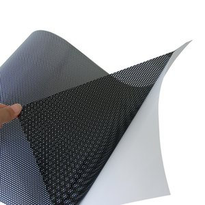 "Black Perforated Car Window Eye Headlight Film Mesh One Way Vision Wrap Vinyl 48""x20""(122cm x 50cm)"