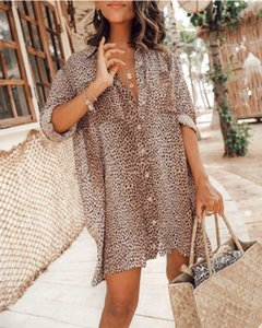 Fifity Loose 3 4 Sleeve Beach Shirt Mini Dress