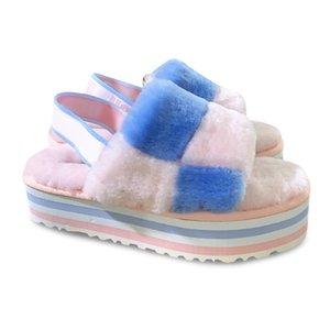 Fluff Yeah Slide Neon Yellow Blue Fur Slipper Hausschuhe Luxury Pantoufles de Designer Women Sandals Pantoufle Women's Furry Slipper 35-42