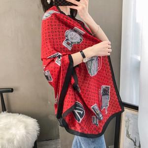 de alta qualidade clássico estilo europeu e americano quente Luxo grife lenço de seda impresso envoltório elegante senhora cicatriz 7744