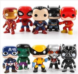 10pcs China Mercado FUNKO POP / set figuras de ação DC Liga da Justiça Marvel Avengers Super Herói Personagens Figuras Modelo Vinyl Toy Action