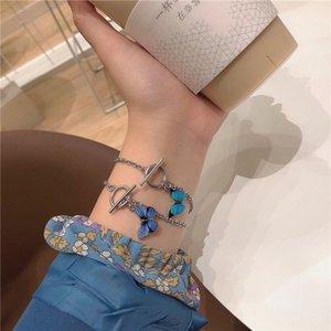 A sense of niche design korean blue butterfly one-word buckle bracelet ins super fire couple bangle bracelet bracelet girl
