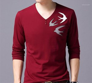 Imprimer manches longues Pull col en V T-shirts Longueur normal Slim Hauts Hommes Dasigner Casual T-shirts animaux