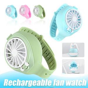 Fan ricaricabile mini ventilatore portatile del fumetto Watch-Forma pieghevole tasca di modo USB con cinturino da polso confortevole con scatola al minuto