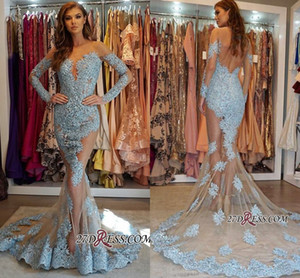 Glamorous Illusion Bodice Long Sleeve Lace Prom Dresses Long 2019 Mermaid Appliques Ice Blue Evening Gowns Pageant Dresses Customize