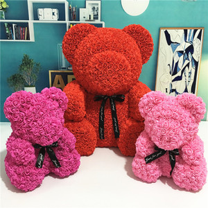 24cm Rose oso con caja de regalo regalo del oso de peluche juguetes de espuma Rosa Flor de San Valentín artificial para mujeres Dropshipping de Navidad