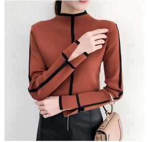 Estilo de Corea del diseñador de la mujer suéter suéteres Mujeres Mujer suave suéter de cuello alto flaco invierno mujeres bodycon Tire Femme capa femenina