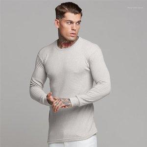 T Shirts Los hombres Ropa para hombre del diseñador activo Tees rayó con paneles Tees informal de manga larga de cuello redondo