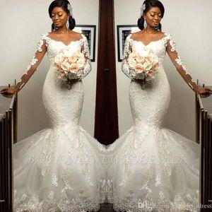 2020 Vintage Weiße Spitze Lange Ärmel Meerjungfrau Brautkleider Crew Neck Sweep Train Afrikanische Bridal Brautkleider