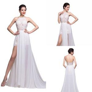 2020 Cristalli appliqued merletto sexy Chiffon Prom Dresses Halter ha bordato il breve fessura del lato degli abiti di sera Beach partito convenzionale GONW Disponibile CPS231