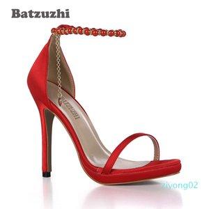 wholesale Fashion Handmade Women Sandal Ankle Strap with Tassel Red Women High Heel Shoes Summer Wedding Heels, Big Size 43 z02