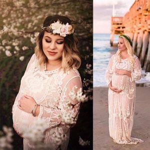 Vestito di pizzo elegante di maternità Fotografia Props abito lungo vestiti di maternità Gravidanza fotografico Puntelli ricamo Fiori