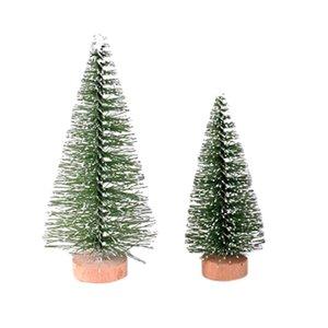 3D Mini luz verde del árbol de Navidad árbol de pino con Base de madera 1pc arte de DIY Tabla colgar adornos de Navidad la decoración del hogar 12.2