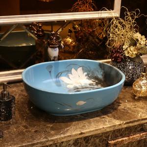 물 잉크 연꽃 예술적 테이블 분지 중국 욕실 세면대 타원형 중국 스타일 세라믹 세면대 욕실 싱크
