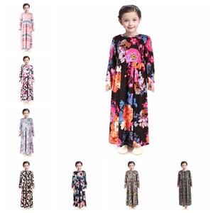 Fashion Girl floreale vestito lungo Bohemian manicotto lungo principessa dei capretti Dress bambino Abbigliamento per bambini Flower Stampa Beach Dress RRA3118