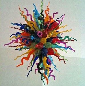 Arte moderno diseño de la vivienda del arte en iluminación de techo de la decoración del hogar soplado a mano la lámpara de cristal de color personalizada